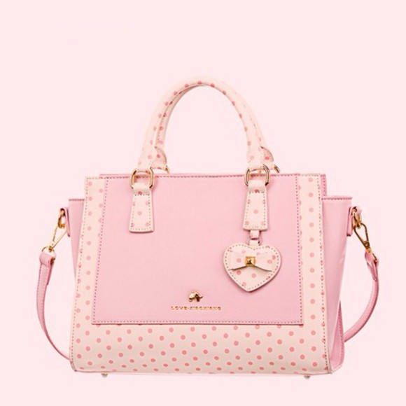 bag pink bag polka dot polka dot bag