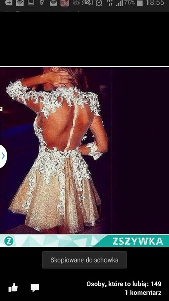 dress gold dress lace dress open back prom dress long sleeves short dress