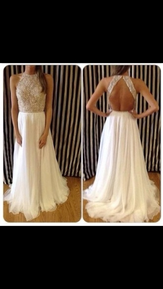 dress prom dress long prom dress jewelled top sparkle prom sequince open back open back dresses white dress sherri hill white long ball sequins prom dress love nude long sequin white long dress sparklely pretty gold white flowy dress jewled 2014 prom dress maxi dress glitter dress chiffon