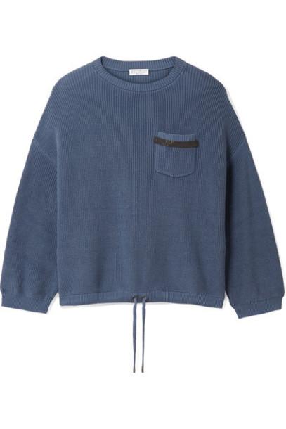 BRUNELLO CUCINELLI sweater embellished cotton blue