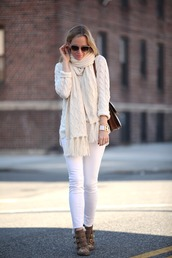 brooklyn blonde,blogger,white jeans,knitted scarf,knitted sweater,cable knit,ankle boots,studded shoes,sweater,shoes,scarf,bag,jewels,sunglasses,white cable knit sweater,susanna boots,all white everything,embellished