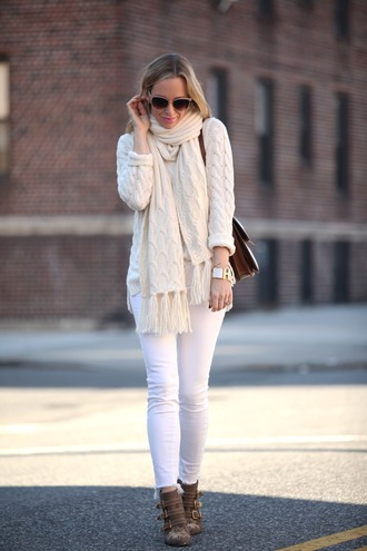 brooklyn blonde blogger white jeans knitted scarf knitted sweater cable knit ankle boots studded shoes sweater shoes scarf bag jewels sunglasses white cable knit sweater susanna boots all white everything embellished