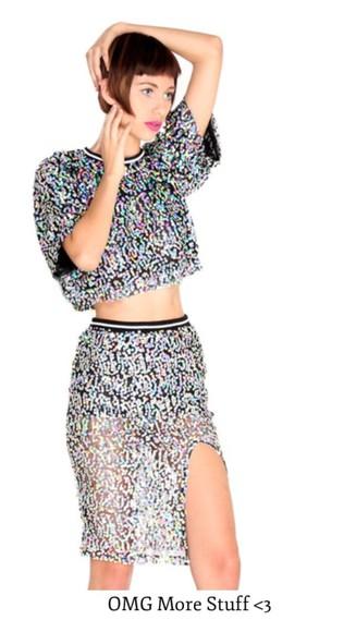 sequin dress 2 piece skirt set