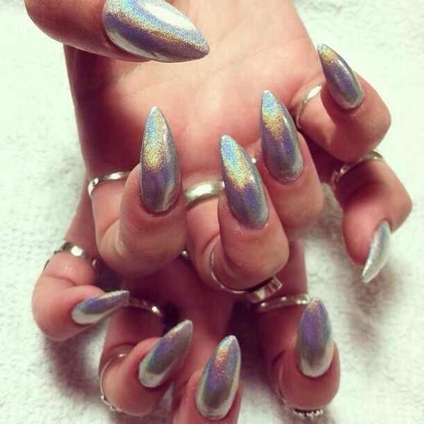 Ultra Holographic Silver Stiletto Nails Nail Designs