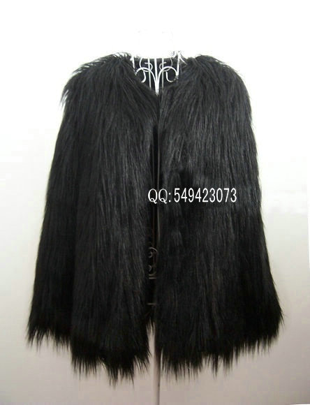 2012 fashion 4inches Long Hairy Full Sleeve Black Shaggy Faux Fur Jacket Coat celebrity for women famale-in Leather & Suede from Apparel & Accessories on Aliexpress.com