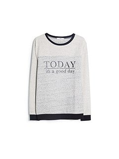Mango message cotton blend sweatshirt grey
