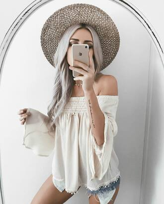 blouse tumblr hat long sleeves off the shoulder off the shoulder top white top shorts denim shorts sun hat