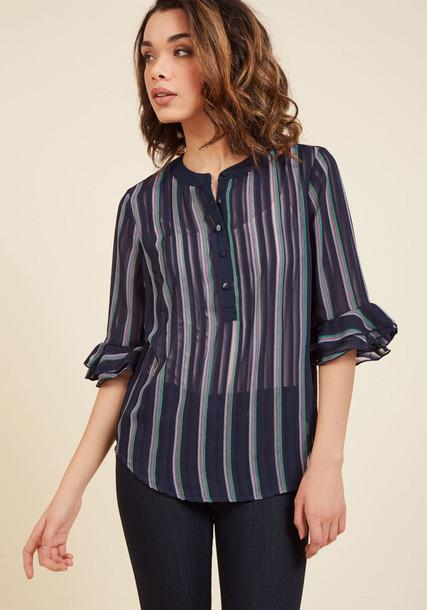 MCT9002 blouse chiffon sheer stripes white pink mint blue top
