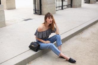 into your closet blogger jacket top pants bag shoes black bag off the shoulder top flats summer outfits
