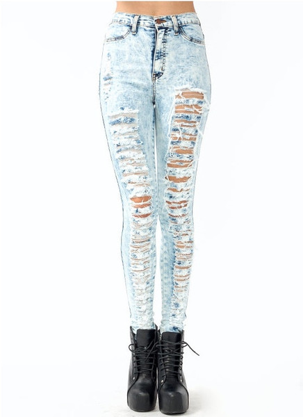 Waisted ACID Wash Distressed Skinny Denim Jean Pants - Light ...