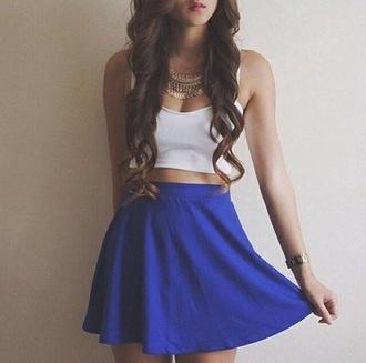 skirt blue skaterskirt skater skirt blue skirt bustier white bustier