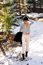 love maegan,blogger,sweater,hat,coat,sunglasses,shoes