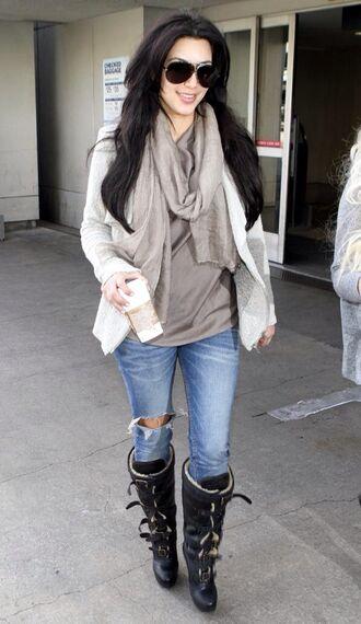 jeans denim kim kardashian scarf sunglasses jacket boots perfect ripped jeans