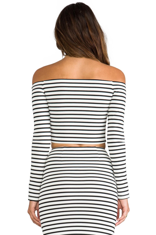 NICHOLAS Breton Stripe Off the Shoulder Top in White & Black