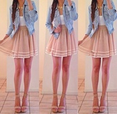 dress,jacket,jewels,shoes,shirt,denim jacket,skirt,braid,blouse,summer outfits,white shirt,cute,beige skirt,pink,denim,white,tank top,nude,sheer,casual,classy,short,beige,vintage skirt,vintage,tan skirt,tan,high waisted skirt,earphones,coat,cardigan