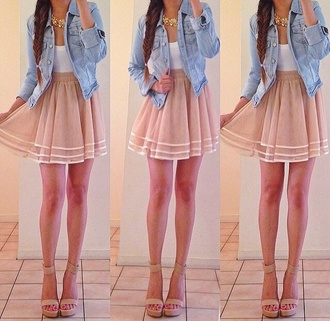 dress jacket jewels shoes shirt denim jacket skirt braid blouse summer outfits white shirt cute love it denim jacket beige skirt pink denim white tank top
