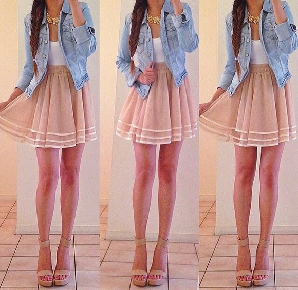 beige skirt cute dress love it white shirt summer outfits denim jacket shirt shoes jewels jacket skirt denim jacket braid blouse pink white denim tank top