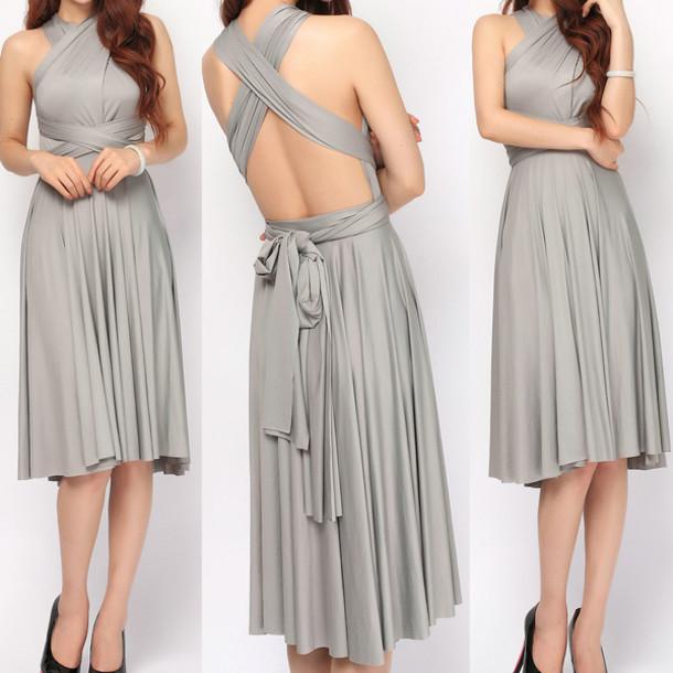 dress grey short infinity dress bridesmaid prom dress home dress