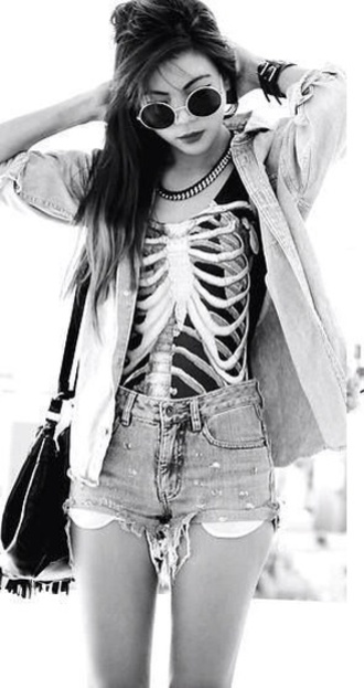 jacket tank top shorts shirt black skeleton shirt skeleton vest ribs hipster grunge dark creepy