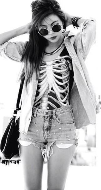 jacket tank top shorts shirt black skeleton shirt skeleton vest ribs hipster grunge dark creepy