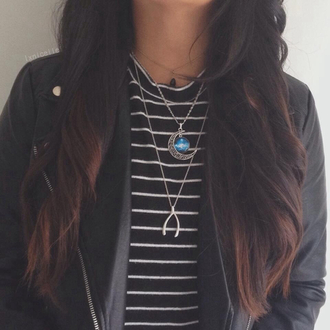 jewels blue moon necklace blue necklace moon necklace necklace moon gold necklace striped shirt stripes black white striped shirt black white shirt black striped shirt white striped shirt leather jacket jacket shirt top b&w casual grunge boho indie hippie hipster tumblr cute fashion weheartit