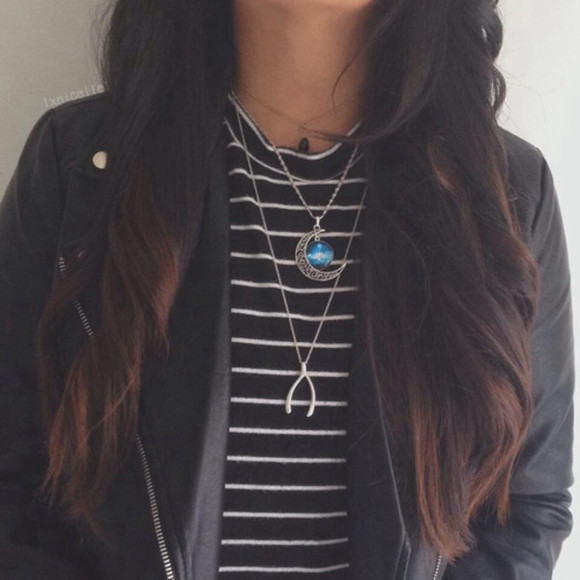 stripes jacket striped shirt jewels leather jacket blue moon necklace blue necklace moon necklace necklace moon golden necklace black white striped shirt black white shirt black striped shirt white striped shirt