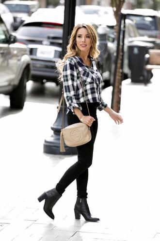 fashionborn blogger fall outfits gucci bag plaid shirt
