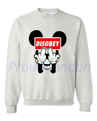 sweater gris mickey mouse disobey vêtements