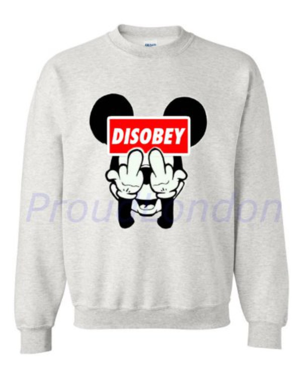 sweater gris mickey mouse disobey vetements