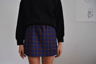black blue skirt checkered jumper mini plaid skirt