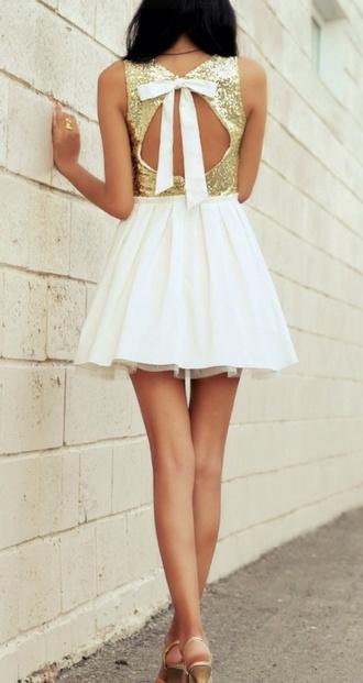 dress gold dress skater dress cut out dres bow back dress