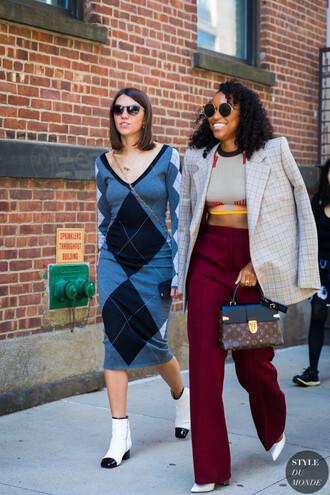 pants dress blazer top burgundy skirt boots white shoes crop tops sunglasses