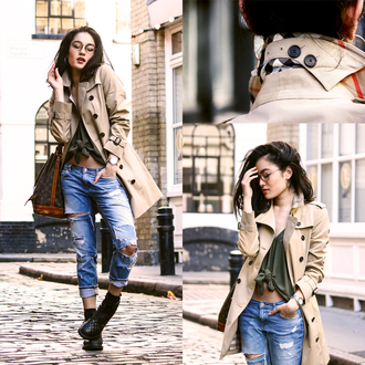 alessandra kamaile blogger beige coat ripped jeans tie-front top trench coat jacket