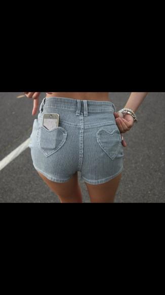 shorts hearts heart pockets stripes tumblr socks