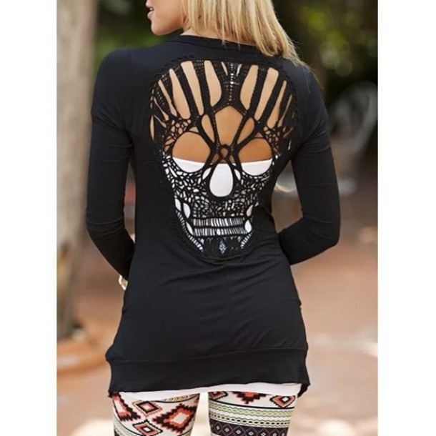 cardigan skull skull sweater black alternative cut offs skeleton streetwear see through casual long sleeves halloween style t-shirt shirt blouse hollow cut-out sexy top clothes outfit streetstyle sammydress fall outfits