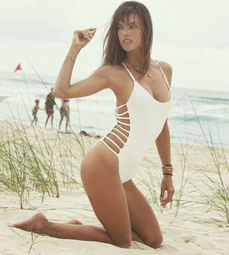 swimwear white white swimwear one piece swimsuit alessandra ambrosio beach model off-duty