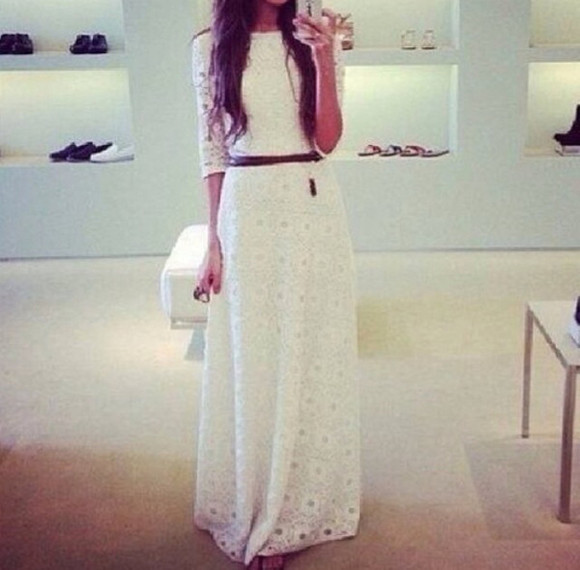 long casual white dress