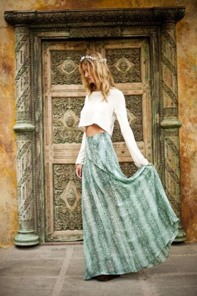 shirt white crop tops long sleeves cropped sweater skirt blue green pattern maxi skirt maxi colorful long skirt