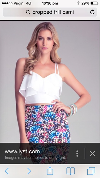 blouse white cropped frill top