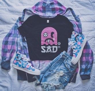 shirt pink sad black shorts converse coat shoes