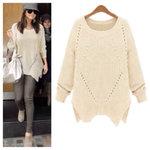 Beige Asymmetrical Knitted Sweater DoubleLW medium by Lilik Linawati