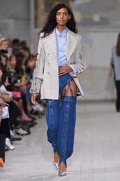 jeans,paris fashion week 2016,y/project,shirt,blazer,coat,denim