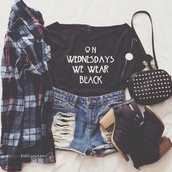top,t-shirt,teenagers,bag,shorts,denim shorts,cute,black,tumblr outfit,tumblr shirt,flannel shirt,american horror story,american flag shorts,white dress,shoes,shirt,grunge top,grunge,ahs coven,quote on it,wednesdays,mean girls,on wednesdays we wear black,jacket,leggings,skirt,cardigan,black heels,outfit,on wednesday we wear black,cool shirts,ahs on wednesdays we wear black,on wednesday we wear  black,jeans,plaid