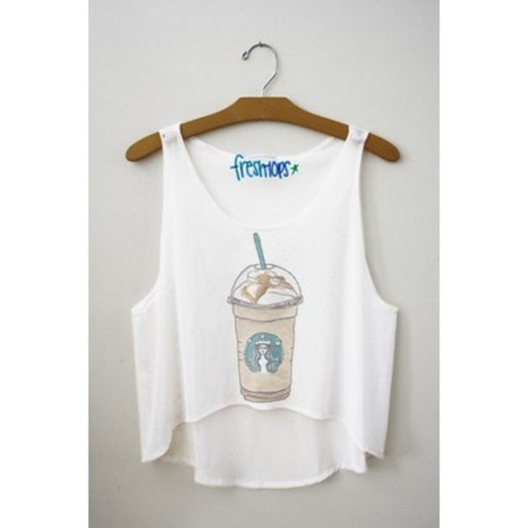 tank top fashion clothes top starbucks starbucks coffee style t-shirt