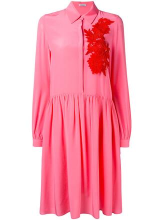 dress shirt dress women floral cotton silk purple pink