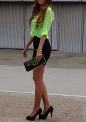 skirt,t-shirt,green,neon,blouse,top