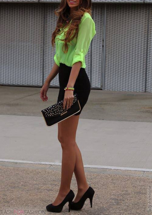 skirt t-shirt green neon blouse top