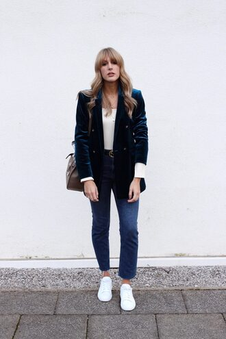 jacket tumblr blazer velvet velvet blazer denim jeans blue jeans white sneakers sneakers low top sneakers