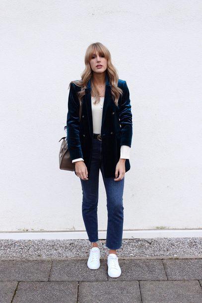 8d874767fa8 jacket tumblr blazer velvet velvet blazer denim jeans blue jeans white  sneakers sneakers low top sneakers
