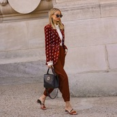 shoes,mules,handbag,pants,high waisted pants,white shirt,blazer,printed blazer,sunglasses